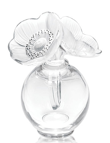 Lalique Crystal, Two Anemones Clear Crystal Perfume Bottle