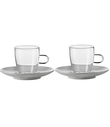 Jenaer Glas Cappuccino Cup with Porcelain Saucer Set, Pair