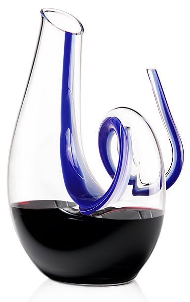 Riedel Fatto a Mano Curly Lapis Lazuli Blue Crystal Wine Decanter, Limited Edition