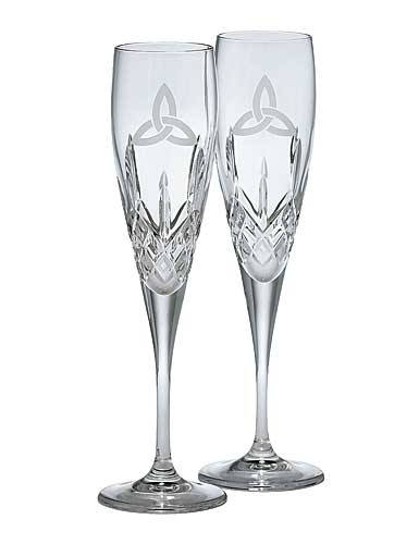 Galway Crystal Trinity Knot Flute, Pair