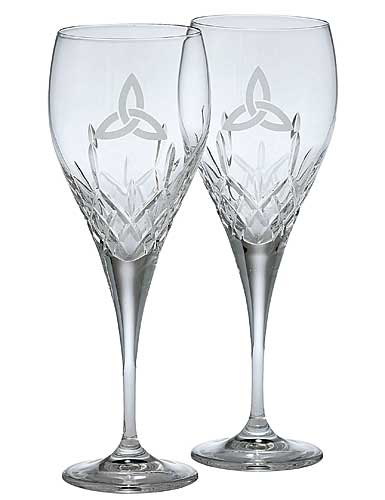 Galway Crystal Trinity Knot Wine, Pair