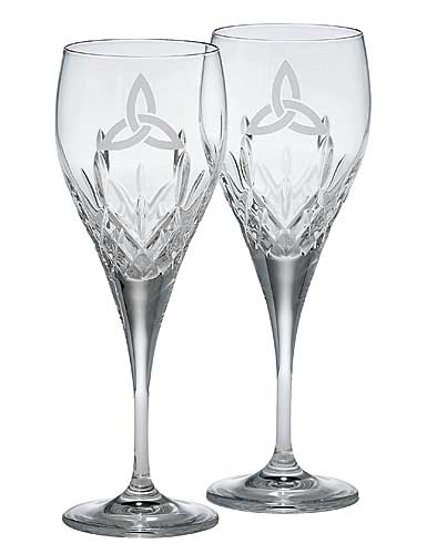 Galway Crystal Trinity Knot Goblet, Pair