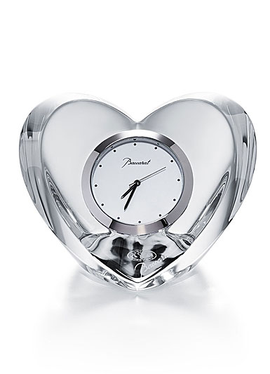 Baccarat Crystal, Heart Clear Crystal Clock