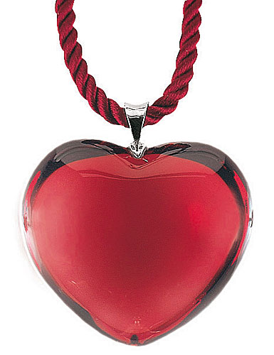 Baccarat Glamour Heart Pendant, Ruby, 1 1/4in