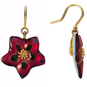 Baccarat Crystal Blossom Pierced Earrings, Ruby Iridescent