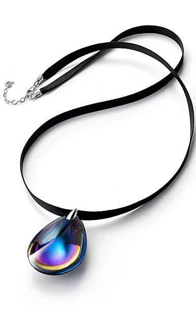 Baccarat Crystal Psydelic Large Pendant Necklace Sterling Silver Blue Scarabee