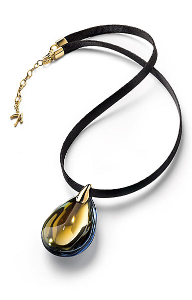 Baccarat Crystal Psydelic Pendant Necklace 18 Kt Gold Yellow Scarabee Medium