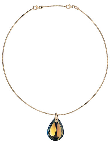 Baccarat Crystal Psydelic Gold Necklace, 18Kt Yellow Gold, Small, Yellow Scarabee, Omeg