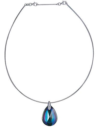 Baccarat Crystal Psydelic Necklace, Sterling Silver, Small Blue Scarabee On Omega Chain