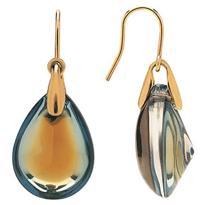 Baccarat Crystal Psydelic Gold Earrings, 18Kt Yellow Gold, Yellow Scarabee, Wire Settin