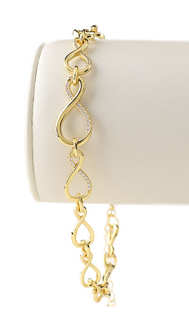 Cashs Ireland, Infinity 18k Gold and Crystal Bracelet