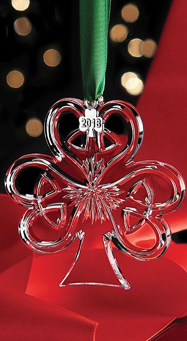 Cashs Ireland, 2018 Shamrock Christmas Crystal Ornament