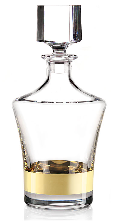 Cashs Grand Cru Handmade Regal Whiskey Non-Lead Decanter, 24k Gold Accent