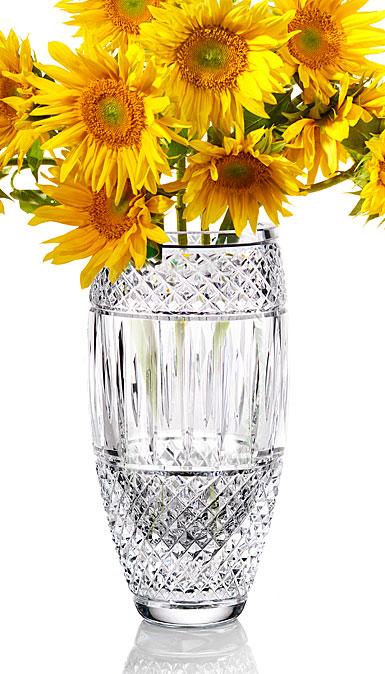 "Cashs Ireland, Crystal Art Collection Cooper Classic 9"" Barrel Vase"
