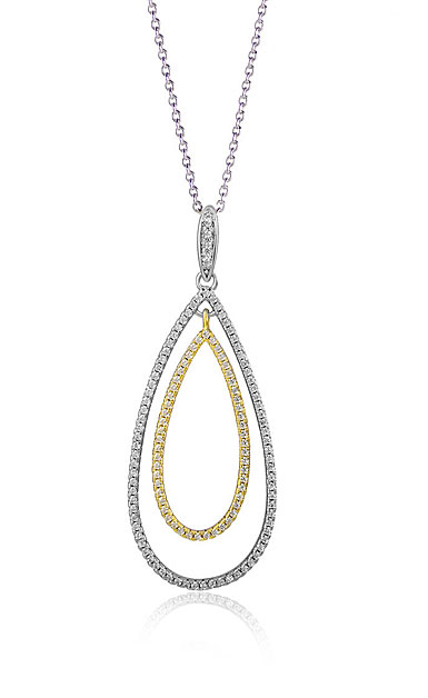 Cashs Ireland, Teardrop Sterling Silver and Gold Pave Necklace