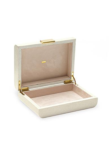 Aerin Modern Shagreen Small Jewelry Box, Cream