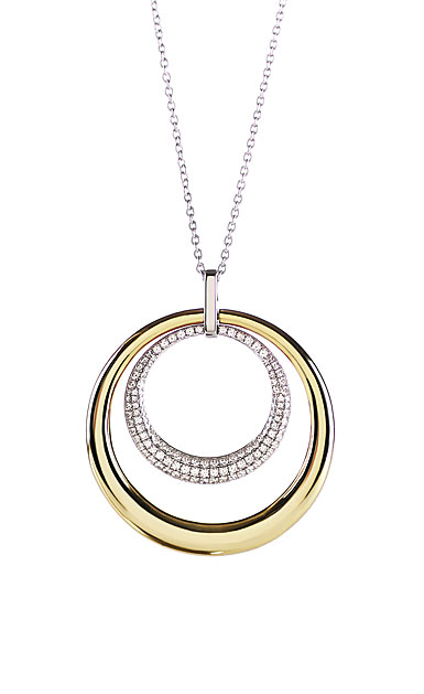 Cashs Ireland, Ella Gold and Crystal Double Round Pendant Necklace