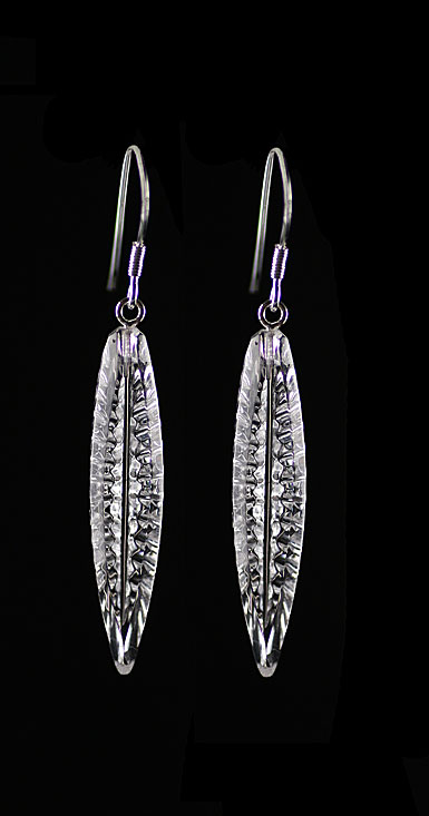 Cashs Ireland, Angel Feather Crystal and Sterling French Hook Drop Earrings, Pair