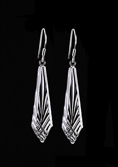 Cashs Ireland, Crystal Annestown Icicle Sterling Drop Earrings, Pair