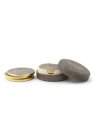 Aerin Shagreen Coasters, Chocolate Set of Four