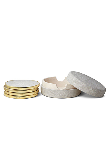 Aerin Shagreen Coasters, Dove Set of Four