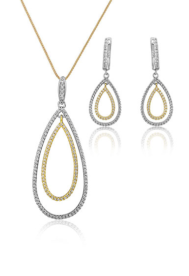 Cashs Ireland, Teardrop Sterling Silver and Gold Pave Necklace and Pierced Earring Gift Set