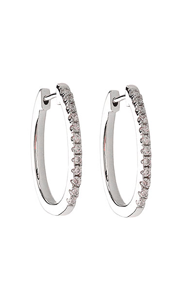 Cashs Ireland, Crystal Sterling Silver 21mm Hoop Pierced Earrings