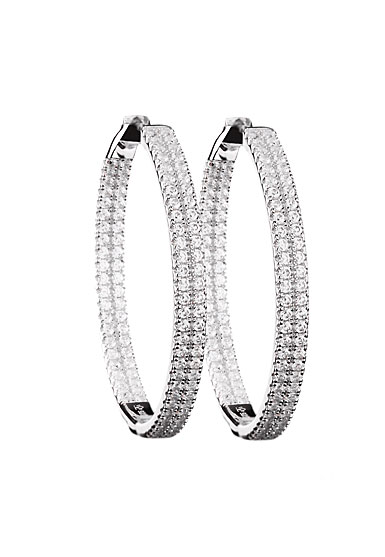 Cashs Ireland, Crystal Sterling Silver Pave 40mm Hoop Pierced Earrings