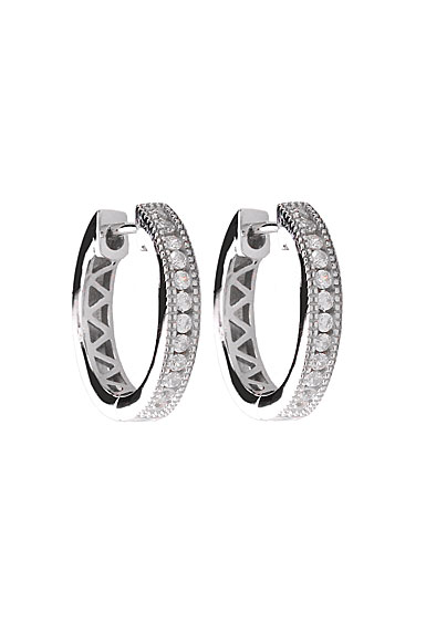 Cashs Ireland, Silver and Crystal 18mm Hoop Pierced Earrings
