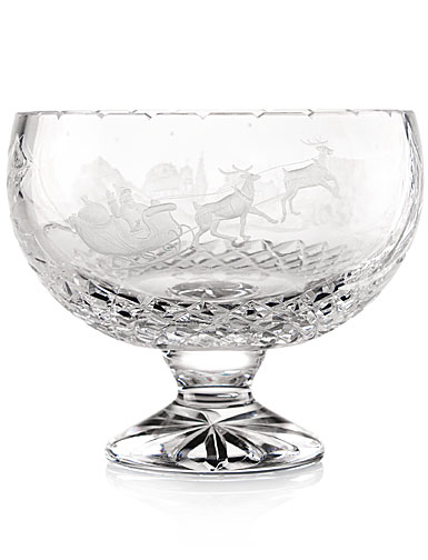 """Cashs Ireland Art Collection Christmas Santa 9"""" Footed Bowl, Limited Edition"""