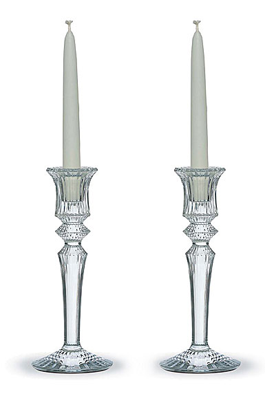 Baccarat Crystal, Mille Nuits Clear Crystal Candleholders, Pair