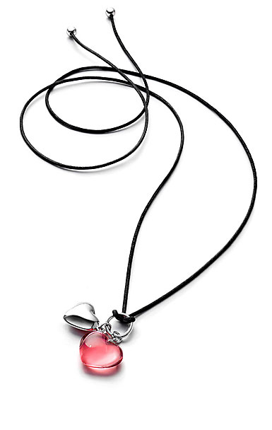 Baccarat Crystal Romance Pendant Necklace Silver And Pink Crystal