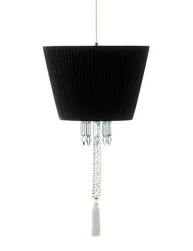 Baccarat Crystal, Torch Ceiling Crystal Lamp W Black Shade Red, White and Black Tassel Cluded
