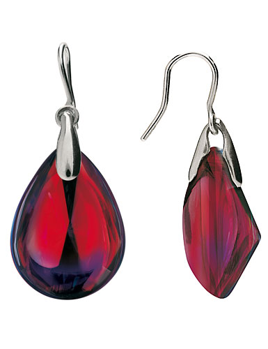 Baccarat Crystal Psydelic Pierced Earrings, Ruby