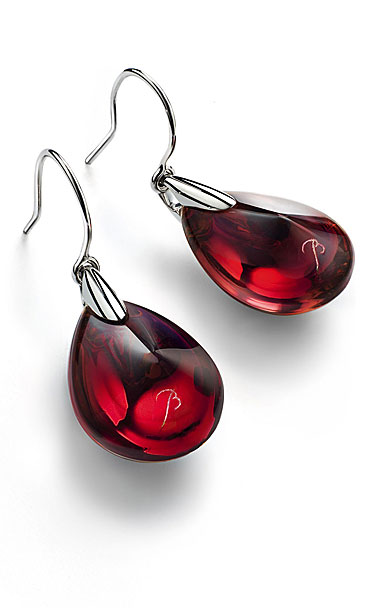 Baccarat Crystal Psydelic Wire Earrings Sterling Silver Iridescent Red