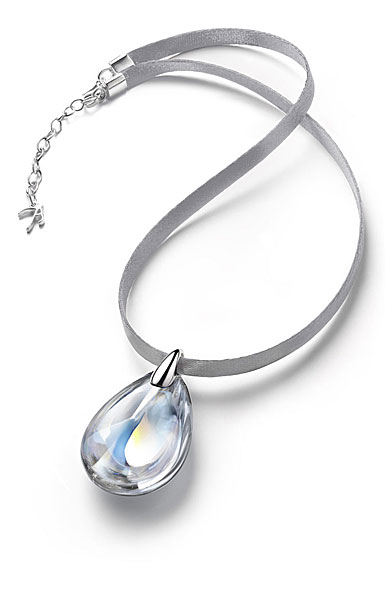 Baccarat Crystal Psydelic Medium Pendant Necklace Sterling Silver Iridescent Clear