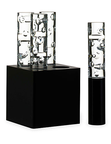 Baccarat Crystal, Jallum Pontil Candle Lamps, Set of 4, Black