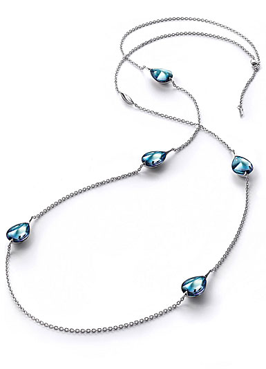 Baccarat Crystal Fleur De Psydelic Aqua Blue Mirror Silver Long Necklace