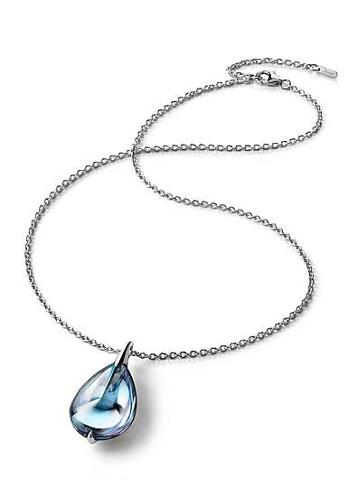 Baccarat Crystal Fleur De Psydelic Aqua Blue Mirror Silver Large Pendant Necklace