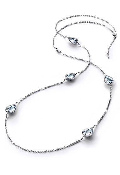Baccarat Crystal Fleur De Psydelic Clear Mirror Silver Long Necklace
