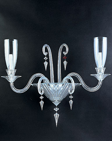 Baccarat Mille Nuits 2 Light Wall Sconce With Hurricane Shade Holders