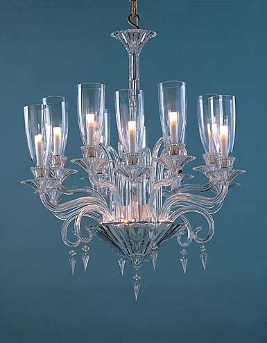 Baccarat Crystal, Mille Nuits 12 Light Crystal Chandelier, With Lighted Crystal Bowl For Hurricane