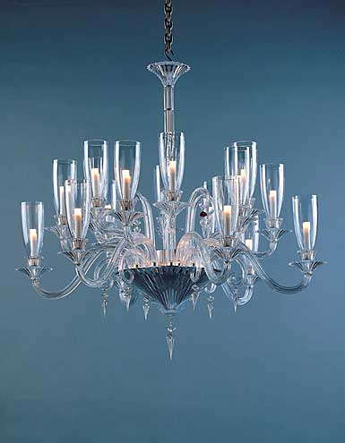 Baccarat Crystal, Mille Nuits Clear 18 Light Crystal Chandelier, With Lighted Crystal Bowl For Hurricane