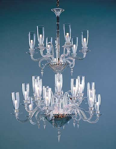 Baccarat Crystal, Mille Nuits 24 Light Crystal Chandelier, With Lighted Crystal Bowl For Hurricane
