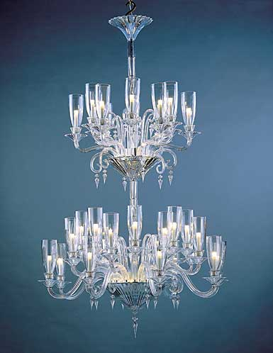 Baccarat Crystal, Mille Nuits 36 Light Chandelier, With Lighted Bowl For Hurricane
