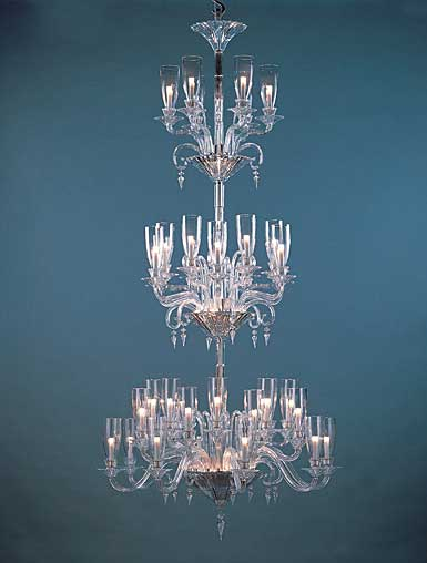 Baccarat Crystal, Mille Nuits 42 Light Crystal Chandelier, With Lighted Crystal Bowl For Hurricane