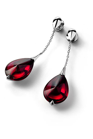 Baccarat Crystal Fleur De Psydelic Iridescent Red Silver Earrings