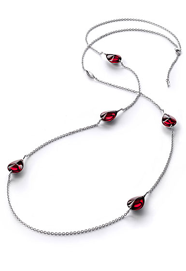 Baccarat Crystal Fleur De Psydelic Iridescent Red Silver Long Necklace