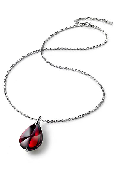Baccarat Crystal Fleur De Psydelic Iridescent Red Silver Large Pendant Necklace