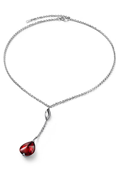 Baccarat Crystal Fleur De Psydelic Iridescent Red Silver Small Pendant Necklace